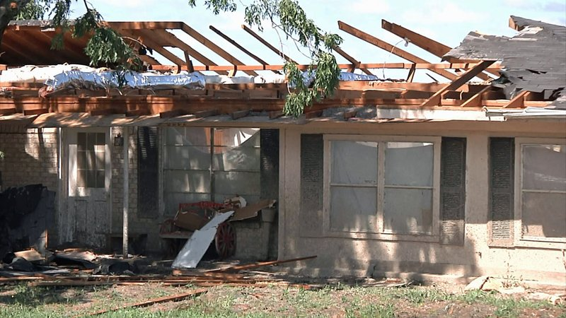 This home near Honey Grove, Texas, had its roof ripped off by a storm on May 29, 2019. (KTEN)