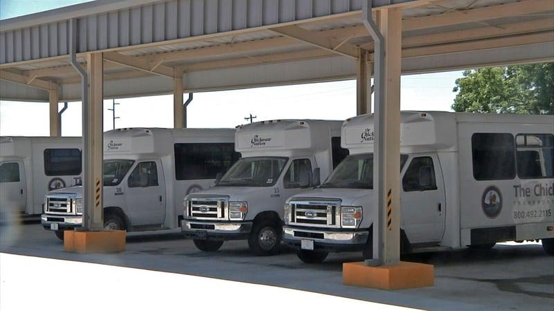 Transit vans at the new Chickasaw Nation Transportation Department in Ada. (KTEN)