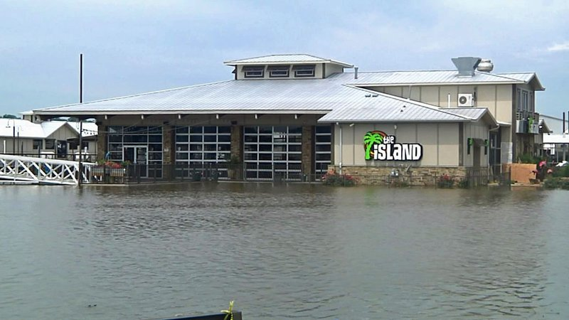 Rising Lake Texoma is encroaching on The Island Bar and Grill in Pottsboro. (KTEN)