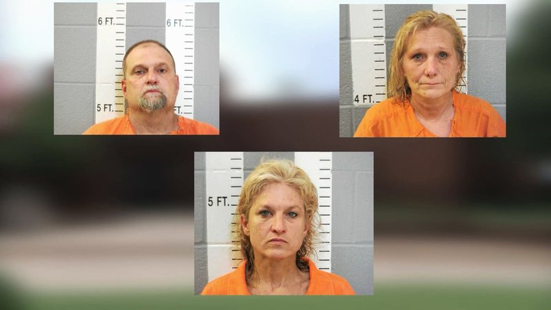 (Clockwise from top left) Keith Dean, Debra Dean and Staci Baumann were arrested on theft charges. (Carter County Sheriff)