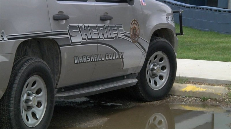 Flash flooding came dangerously close to the Marshall County Jail facility on June 5, 2019. (KTEN)