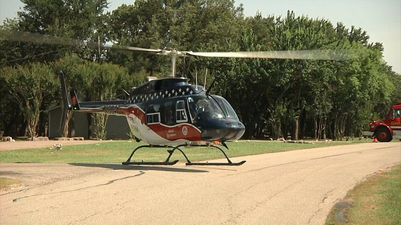 A medical evacuation helicopter arrives to assist a victim of a personal watercraft collision at Lake Texoma on June 9, 2019. (KTEN)