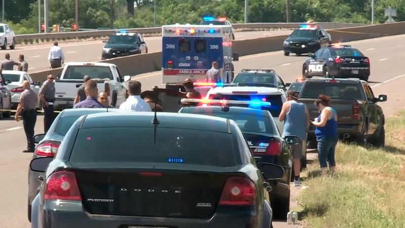 I-35 was closed in Oklahoma City after a gunman was shot by police on June 10, 2019. (KFOR via NBC News)