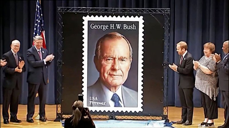 The President George H.W. Bush stamp is unveiled at Texas A&M University on June 12, 2019. (KBTX via CNN)