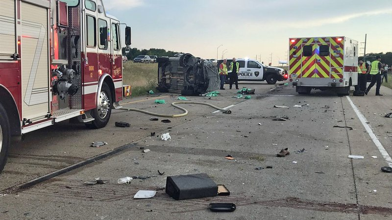 One person died in a multi-vehicle wreck on US 75 in Denison on June 14, 2019. (KTEN)