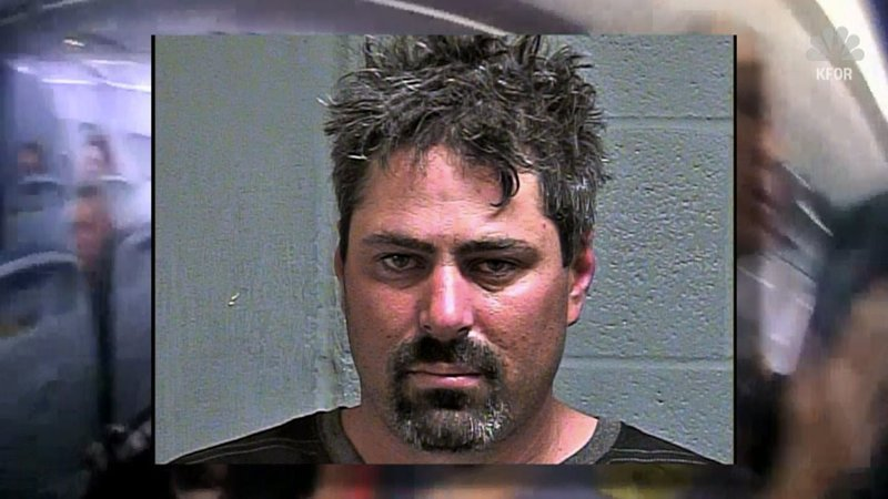 Brandon Ganus was arrested after being removed from an American Airlines flight in Oklahoma City. (KFOR via NBC News)