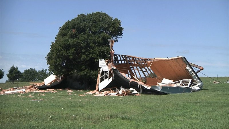 A mobile home west of Ada was demolished by a powerful storm on June 19, 2019. (KTEN)