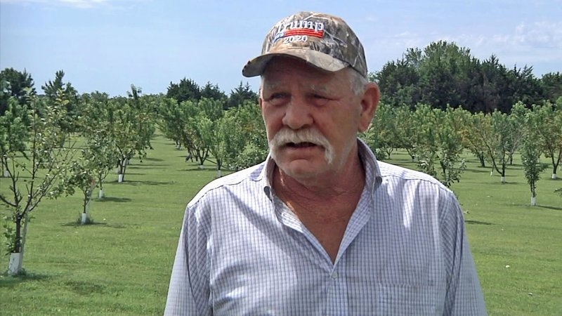 Gary Brown said an overnight storm destroyed his fruit crop and flipped a shed at his home near Ada upside-down. (KTEN)