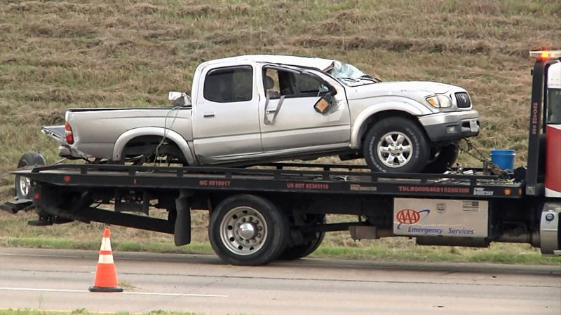 This pickup truck was involved in a multi-vehicle accident on US 75 in Denison on June 19, 2019. (KTEN)