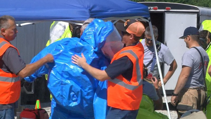 A hazardous material drill in Ardmore teamed up firefighters with a local business. (KTEN)