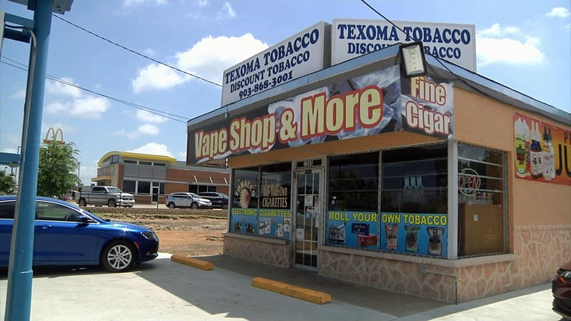 Developers are proposing to tear down the Texoma Tobacco shop on Texoma Parkway in Sherman to make way for a new shopping center. (KTEN)