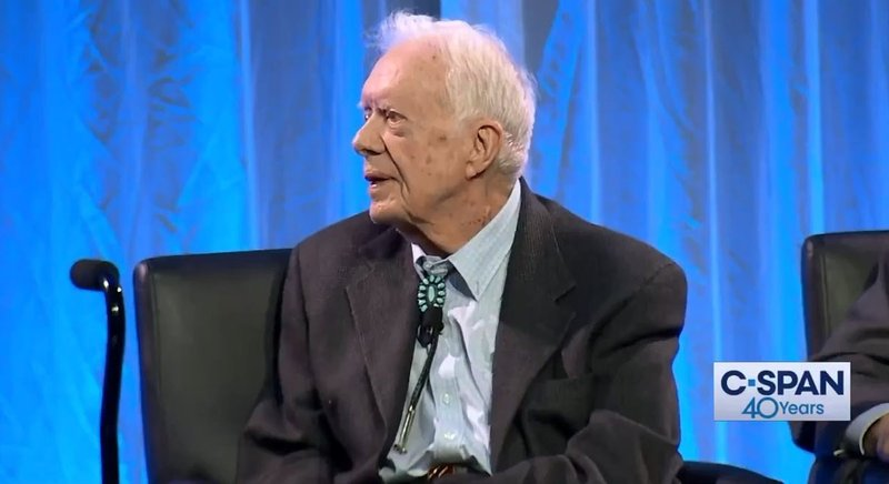 Former President Jimmy Carter questioned the legitimacy of Donald Trump's election on June 28, 2019. (C-SPAN)