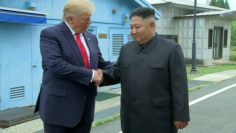 President Trump and Chairman Kim shake hands at the border of North and South Korea on June 30, 2019. (CNN/Pool)