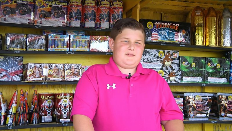 Hunter Eubanks, 12, has opened his own fireworks stand in Ardmore. (KTEN)
