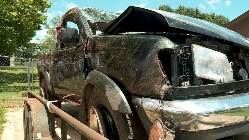 A pickup truck that served as a living memorial to Cpl. Michael Thompson was totaled after being stolen. (KFOR)