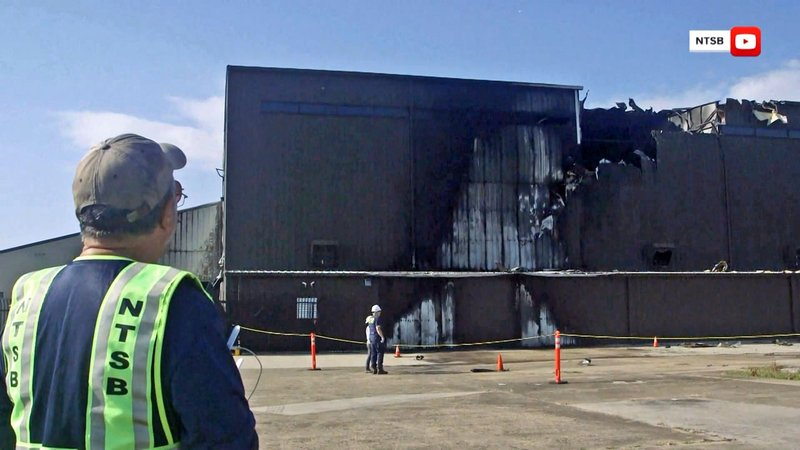 A twin-engine plane crashed into a hangar at Addison Municipal Airport on June 30, 2019. (NTSB via NBC News)