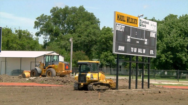 Work is underway to convert Madill's athletic field from natural grass to artificial turf. (KTEN)