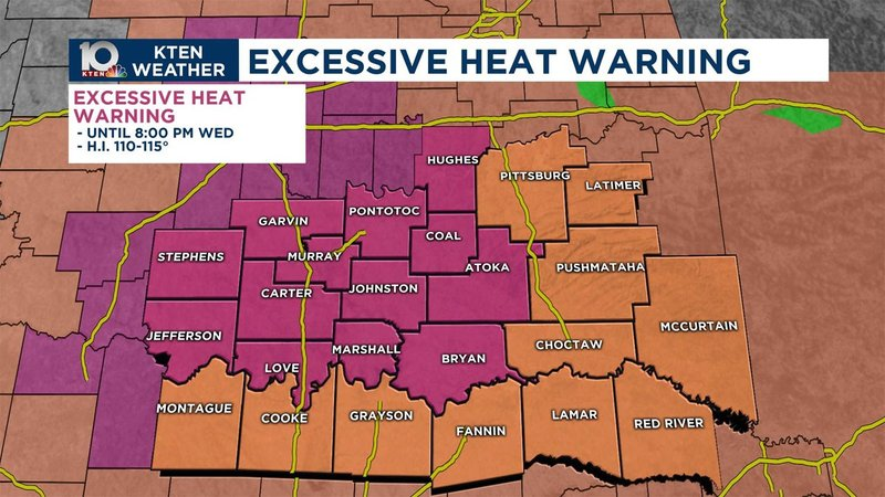 There's an Excessive Heat Warning for much of Texoma on July 10, 2019. (KTEN)