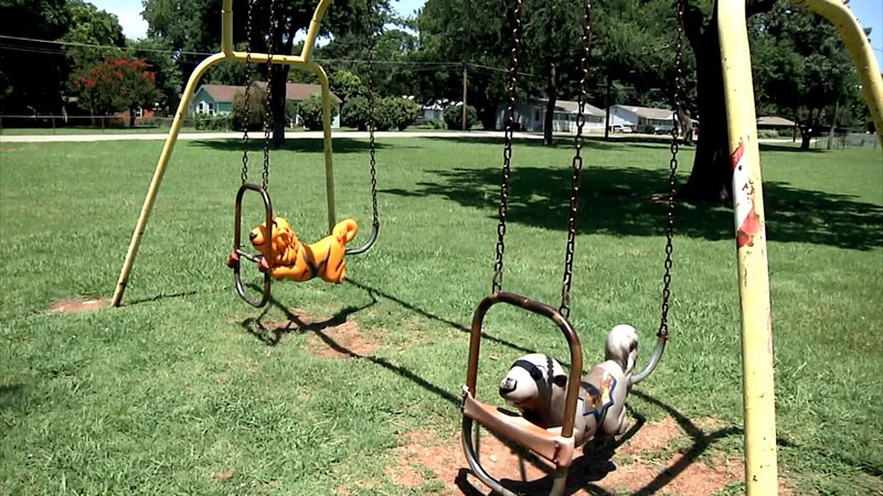 The playground equipment at Denison's Ray Park dates back to the late 1980s. (KTEN)