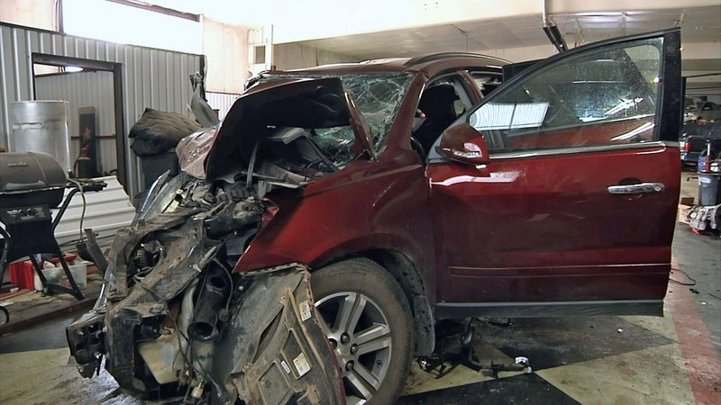 Randy Kinyon, a passenger in this vehicle, died on July 13, 2019 after it was forced across the center line of US 70 and struck an oncoming pickup truck. (KTEN)
