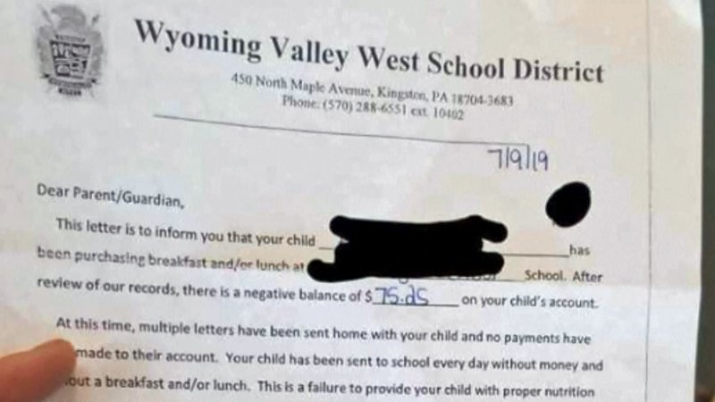 The Wyoming Valley West School District issued this written threat concerning overdue lunch bills. (WBRE via NBC News)