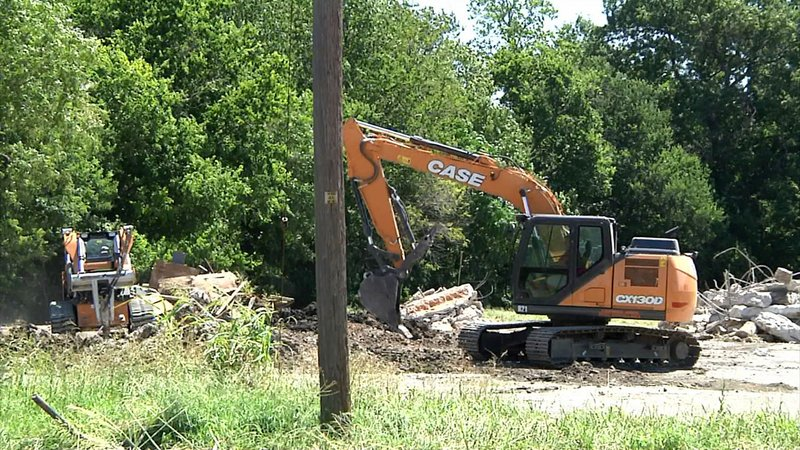 Demolition work is underway on the site of the new Sherman police training facility. (KTEN)