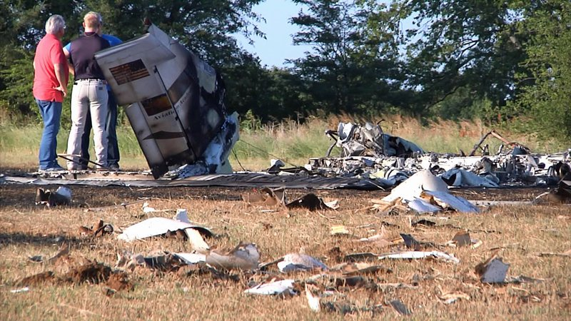 The engine of a plane that crashed near Gainesville Municipal Airport on July 28, 2019. (KTEN)