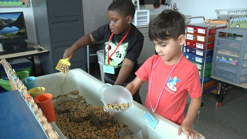 Incoming Sherman elementary school students participate in Kinder Camp. (KTEN)