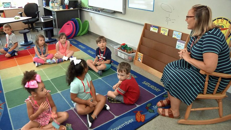 New Sherman kindergarten students met their teacher at Kinder Camp. (KTEN)
