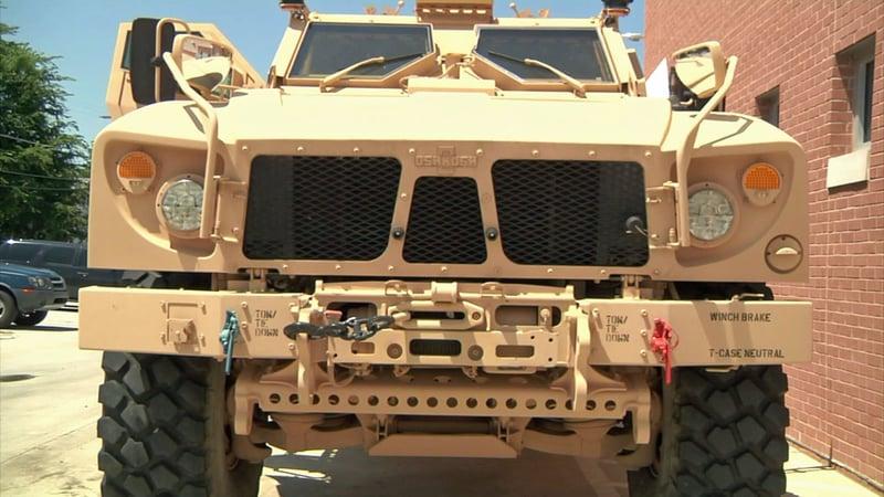 The Ada Police Department's new military ATV. (KTEN)