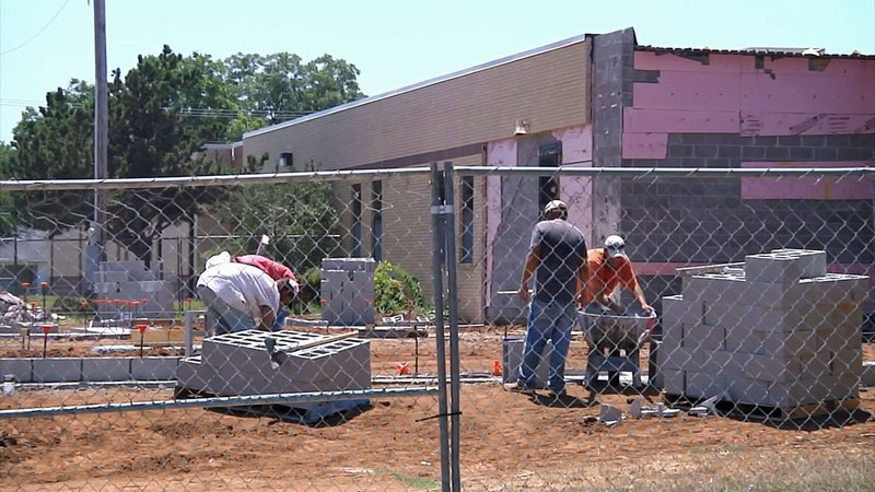 A construction project continues at Jefferson Elementary School in Ardmore. (KTEN)