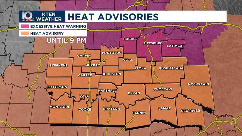Heat advisories on August 19, 2019. (KTEN)