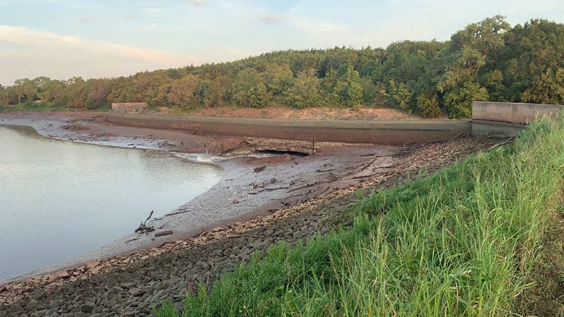 Cushing Lake was closed after damage to the dam was observed. (City of Cushing/Facebook)