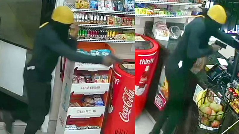 Surveillance photos of the Quick Time convenience store holdup in Sherman on July 31, 2019. (Denison PD)