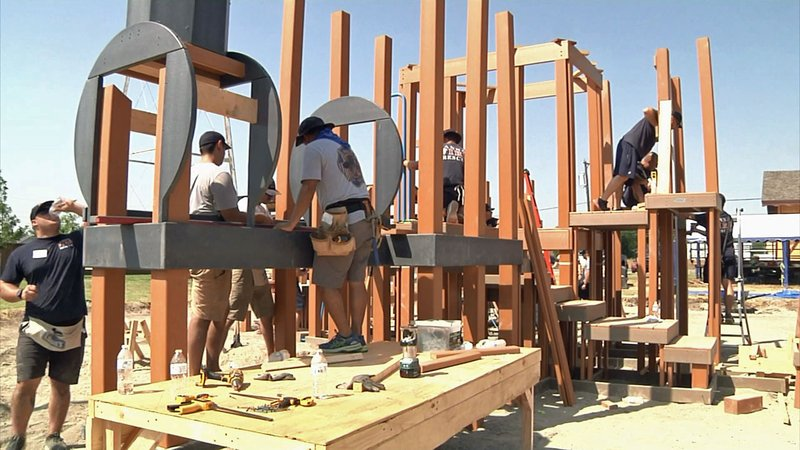 Volunteers are building a new playground at Sherley Heritage Park in Anna. (KTEN)