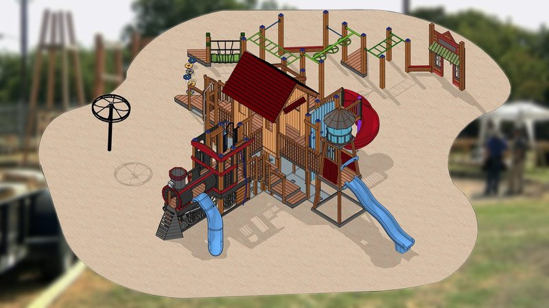 An artist's rendering of the completed playground at Sherley Heritage Park. (City of Anna/Facebook)