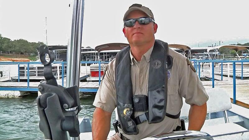 Grayson County Game Warden Shane Bailey patrols Lake Texoma. (KTEN)