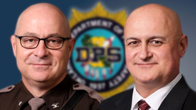 Oklahoma Highway Patrol Chief Michael Harrell (left) and DPS Commissioner Rusty Rhoades have resigned. (KTEN)