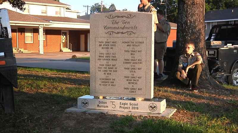 Dillon Burnam earned his Eagle Scout badge by establishing this Ten Commandments monument in Ardmore. (KTEN)