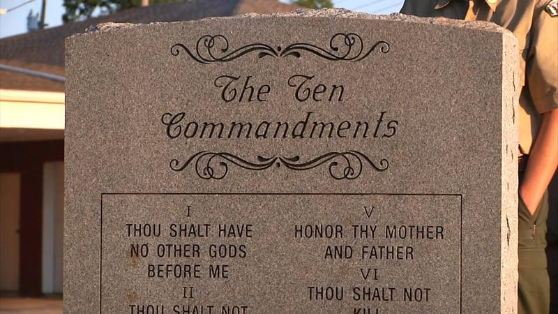This Ten Commandments monument in Ardmore was Dillon Burnam's Eagle Scout project. (KTEN)