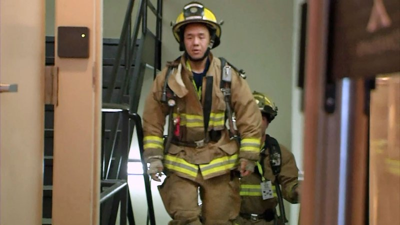 A firefighter participating in the 2019 Dallas 9/11 Memorial Stair Climb. (KTEN)