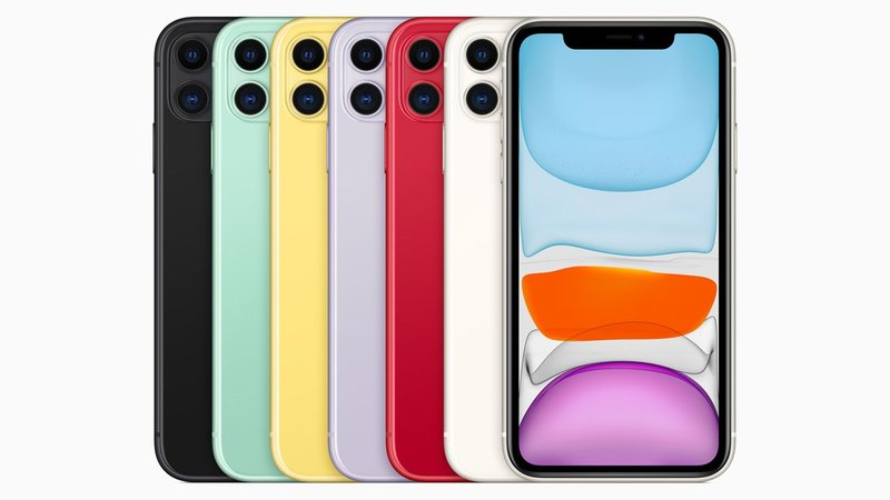 The colorful new iPhone 11 lineup has two rear-facing cameras. (Apple)