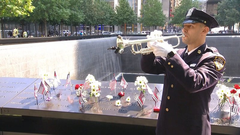 Taps is played at ground zero in New York on September 11, 2019. (NBC News)