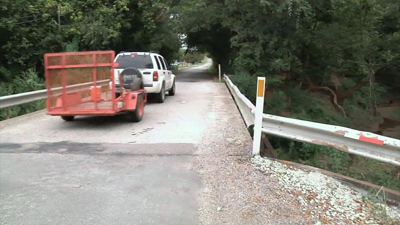 Cedar Road at Cedar Creek Bridge near Luella will be closed as it is rebuilt. (KTEN)