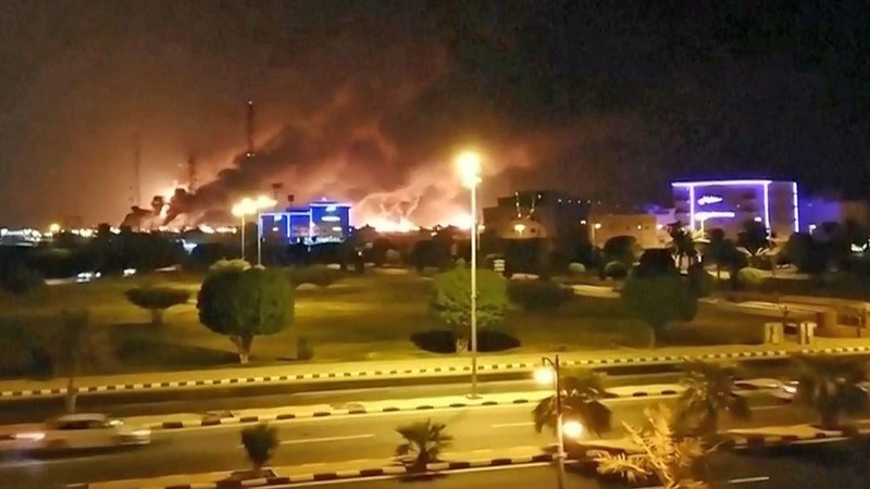 A key Saudi Arabia oil facility burns after being attacked. (NBC News)
