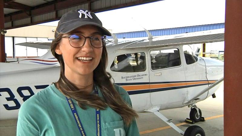 SOSU aviation student Hannah Kleinkauf. (KTEN)