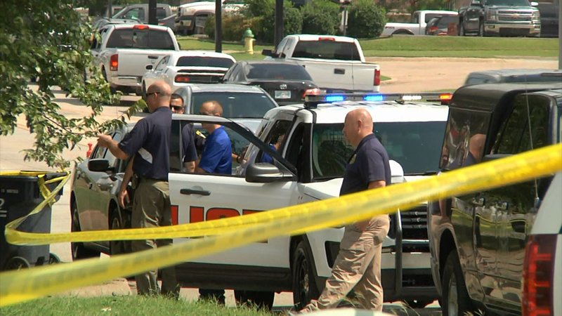 Ada police investigate a fatal officer-involved shooting on September 21, 2019. (KTEN)