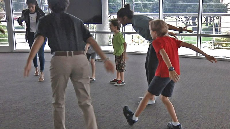 Elementary students dance at a 'Roo Bound event at Austin College on Sepbember 21, 2019. (KTEN)