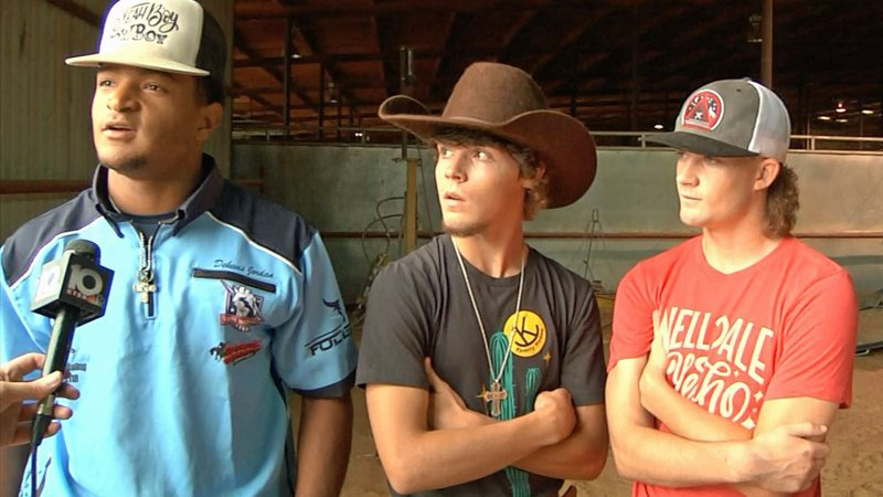 Bullfighters discuss their profession at the World Championship Rodeo Bullfight Finals in Ardmore. (KTEN)