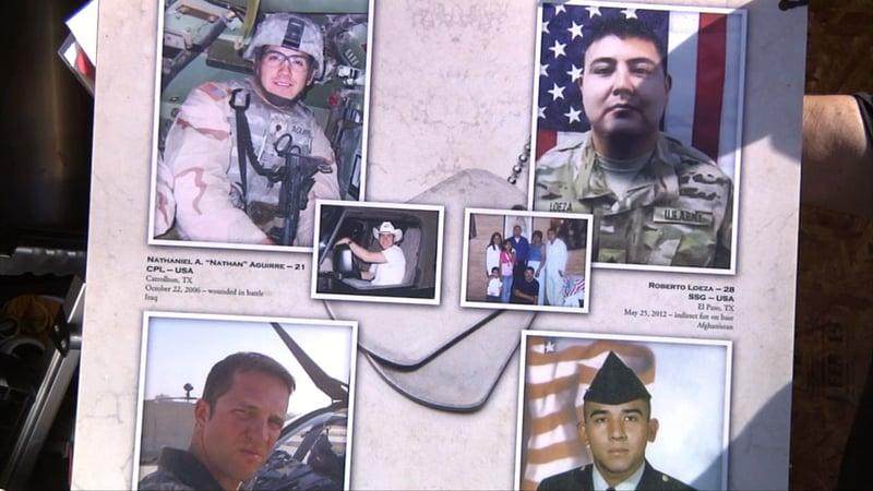 A detail from the Remembering Our Fallen Memorial Wall. (KTEN)